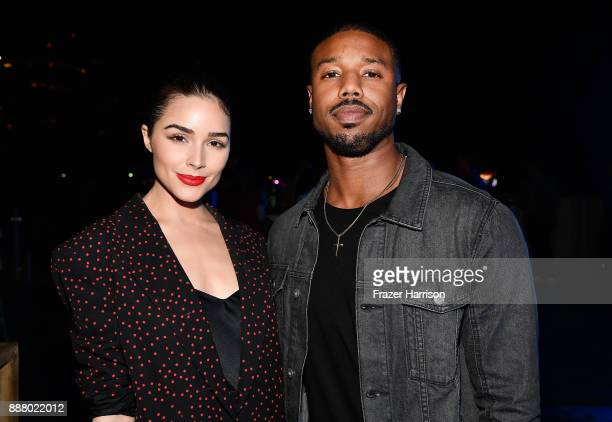 Olivia Culpo and Michael B Jordan celebrate Miami Art Week at the American Express Platinum House at The Miami Beach EDITION on December 7 2017 in...