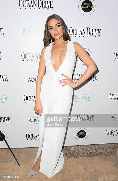 Olivia Culpo arrives at her Ocean Drive Cover Party at Rick's South Beach on January 11 2017 in Miami Beach Florida