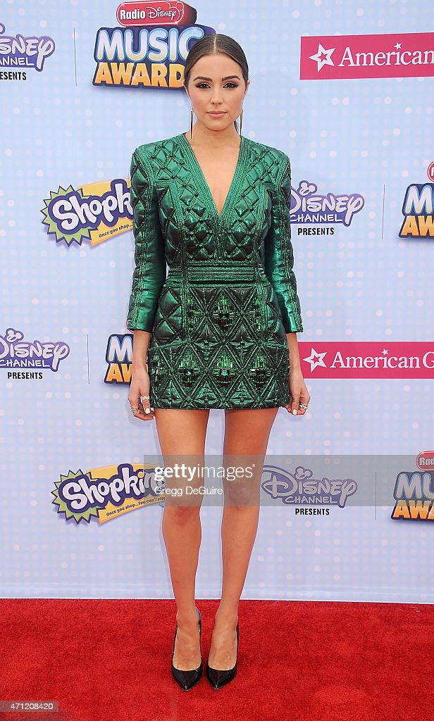 Olivia Culpo arrives at the 2015 Radio Disney Music Awards at Nokia Theatre LA Live on April 25 2015 in Los Angeles California