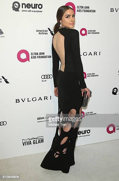 Olivia Culpo arrives at the 24th Annual Elton John AIDS Foundation's Oscar viewing party held at West Hollywood Park on February 28 2016 in West...