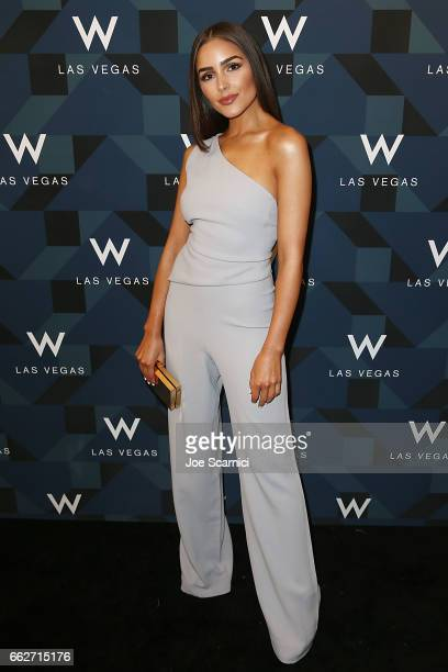 Olivia Culpo arrives at the W Las Vegas Grand Opening Celebration on March 31 2017 in Las Vegas Nevada