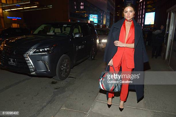 Olivia Culpo arrives in a Lexus to the Baja East Fall 2016 fashion show during Day 3 of New York Fashion Week The Shows at Skylight at Moynihan...