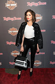 Olivia Culpo attends as HarleyDavidson celebrates the Black Label Collection with Rolling Stone at HarleyDavidson of New York City on February 10...