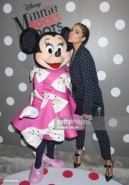 Olivia Culpo attends Minnie Rocks the Dots art and fashion exhibit on National Polka Dot Day in downtown Los Angeles Celebrating the signature style...