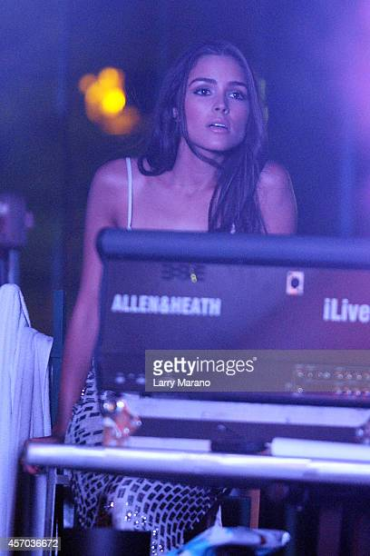 Olivia Culpo is sighted watching Nick Jonas perform during a private concert presented by radio station Y100 at Fontainebleau Miami Beach on October...