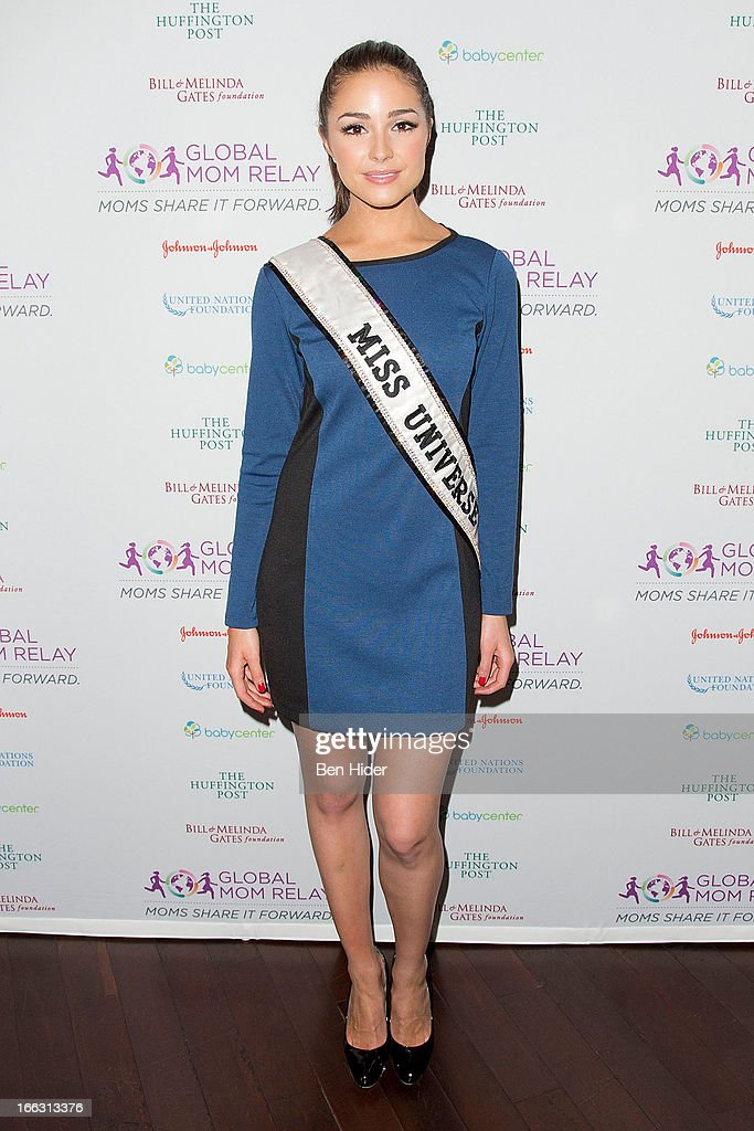 Olivia Culpo, Miss Universe 2012 attends Global Mom Relay Video Launch Event at Times Square on April 11, 2013 in New York City.