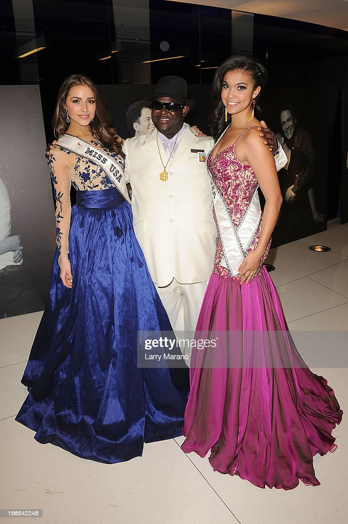 Olivia Culpo, Miss USA 2012, Big Money, and Logan West, Miss Teen USA 2012, attend the Zenith Watches Best Buddies Miami Gala at Marlins Park on November 16, 2012 in Miami, Florida.
