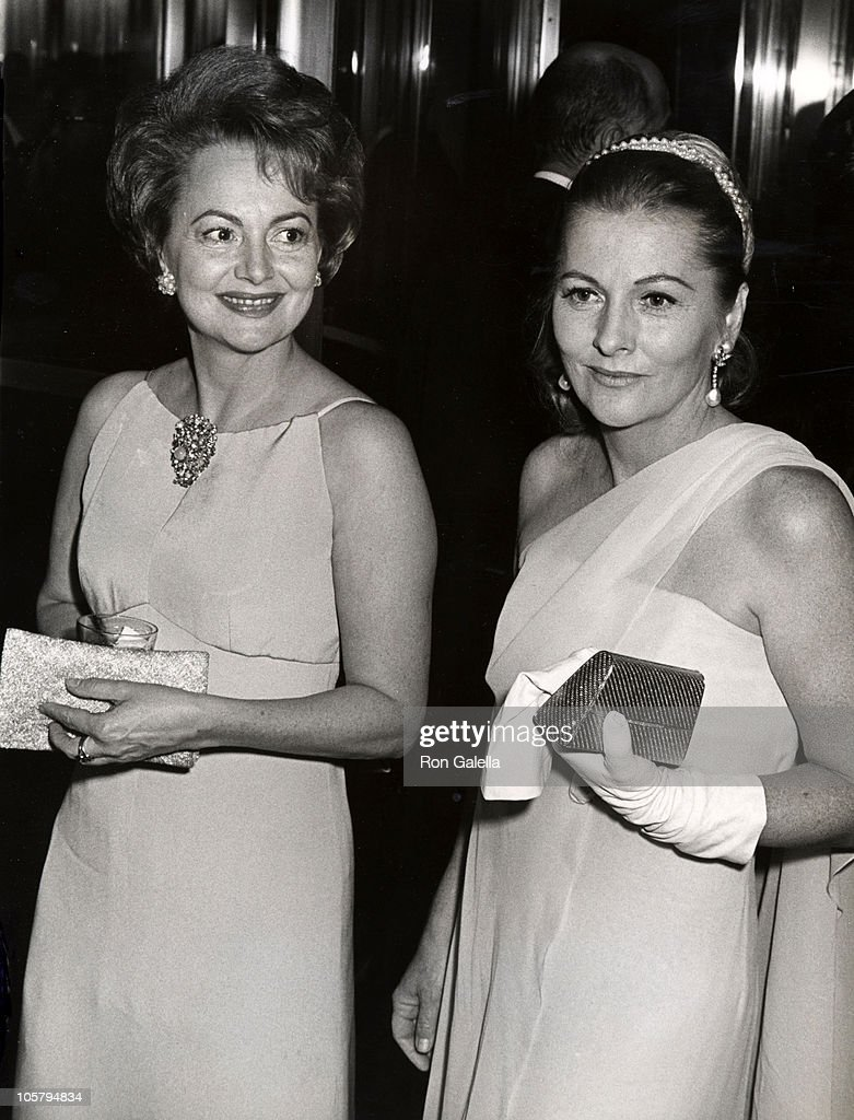 Olivia de Havilland and sister <a gi-track='captionPersonalityLinkClicked' href=/galleries/search?phrase=Joan+Fontaine&family=editorial&specificpeople=206434 ng-click='$event.stopPropagation()'>Joan Fontaine</a> during Marlene Dietrich's Opening Party - September 9, 1967 at Rainbow Room in New York City, NY, United States.