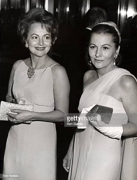 Olivia de Havilland and sister Joan Fontaine during Marlene Dietrich's Opening Party September 9 1967 at Rainbow Room in New York City NY United...