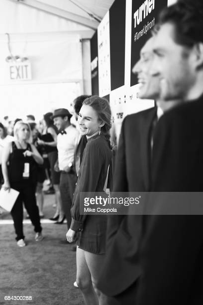 Olivia DeJonge attends the Turner Upfront 2017 arrivals on the red carpet at The Theater at Madison Square Garden on May 17 2017 in New York City...
