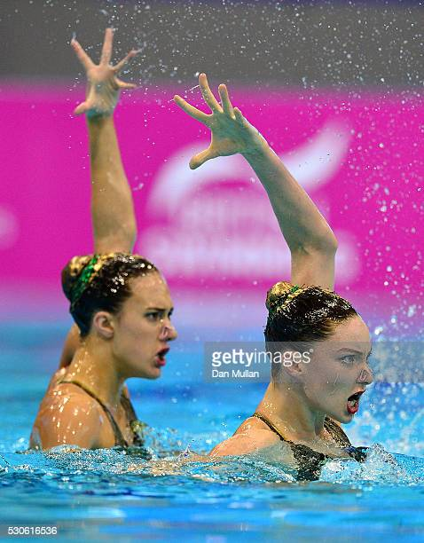 Olivia Federici and Katie Clark of Great Britain compete in the Synchronised Swimming Duet Free Final on day three of the LEN European Swimming...