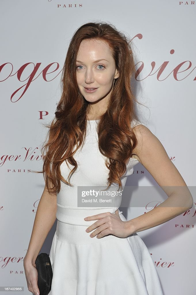 Olivia Grant and arrives at the Roger Vivier Book published by Rizzoli UK launch party at Saatchi Gallery on April 24, 2013 in London, England.