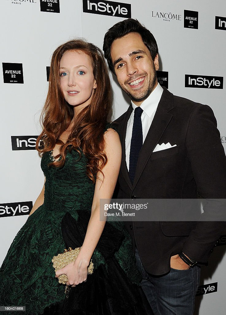 Olivia Grant (L) and Diego Bivero-Volpe arrive at the InStyle Best Of British Talent party in association with Lancome and Avenue 32 at Shoreditch House on January 30, 2013 in London, England.