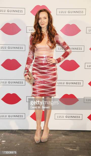 Olivia Grant attends the Lulu Guinness Paint Project in collaboration with Beautiful Crime and their artist Joseph Steele at The Old Sorting Office...