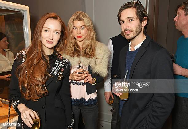 Olivia Grant Rhiannon Rees and James Wright attend the live reading event hosted by Burberry with Pin Drop at Thomas's Burberry's allday British Cafe...