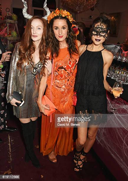 Olivia Grant Rosanna Falconer and Sarah Ann Macklin attend Halloween at Annabel's at 46 Berkeley Square on October 29 2016 in London England