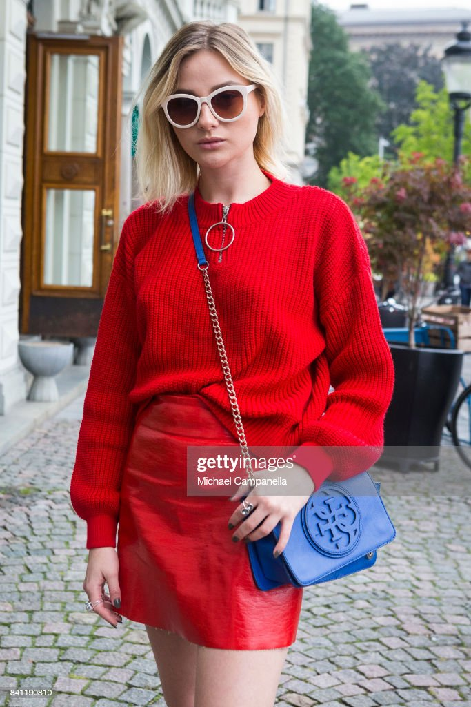 Olivia Hageus wearing Guess and Tommy Hilfinger on second day of Stockholm Fashion Week Spring/Summer 18 at Grand Hotel on August 31, 2017 in Stockholm, Sweden.