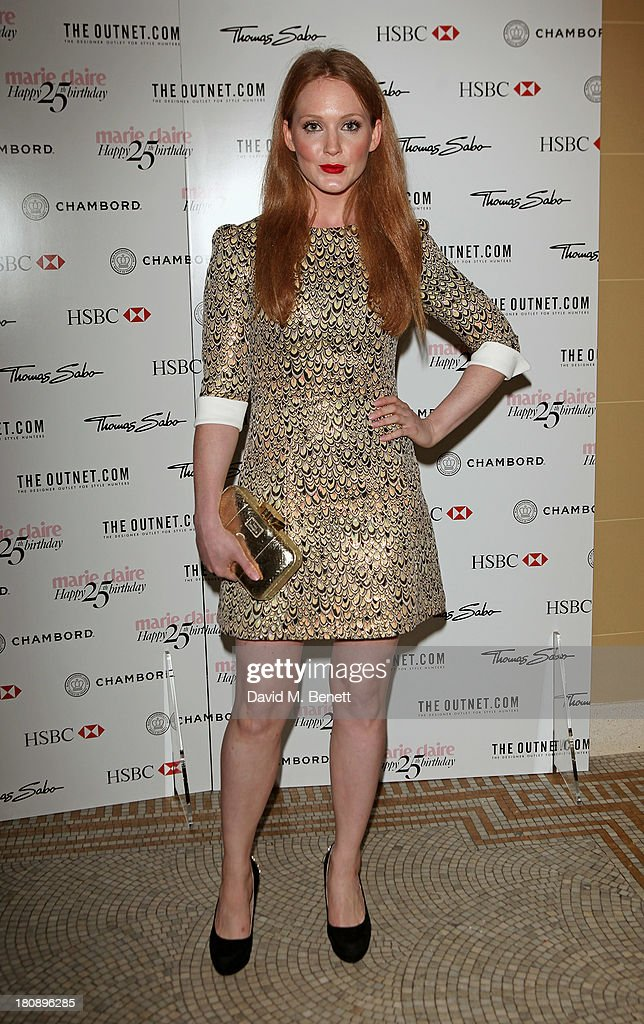 Olivia Hallinan arrives at the Marie Claire 25th birthday celebration featuring Icons of Our Time in association with The Outnet at the Cafe Royal Hotel on September 17, 2013 in London, England.