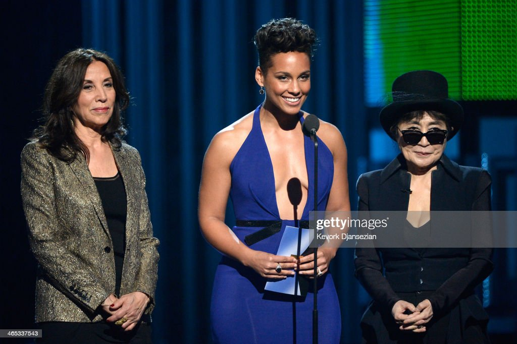 Olivia Harrison, musicians Alicia Keys and Yoko Ono speak onstage during the 56th GRAMMY Awards at Staples Center on January 26, 2014 in Los Angeles, California.