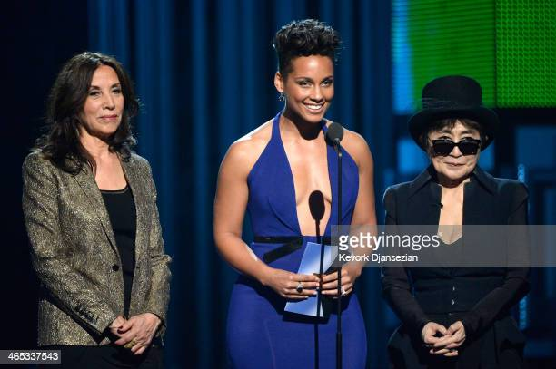 Olivia Harrison musicians Alicia Keys and Yoko Ono speak onstage during the 56th GRAMMY Awards at Staples Center on January 26 2014 in Los Angeles...