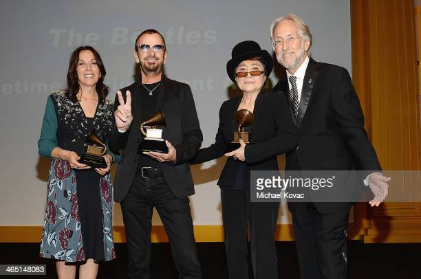 Olivia Harrison Ringo Starr Yoko Ono and Recording Academy President/CEO Neil Portnow attend the Special Merit Awards Ceremony of the 56th GRAMMY...