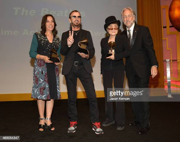 Olivia Harrison Ringo Starr Yoko Ono and The Recording Academy president/CEO Neil Portnow attend the Special Merit Awards Ceremony as part of the...