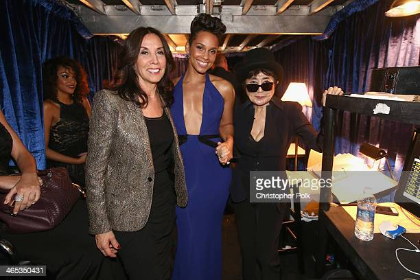 Olivia Harrison singer Alicia Keys and musician Yoko Ono attend the 56th GRAMMY Awards at Staples Center on January 26 2014 in Los Angeles California
