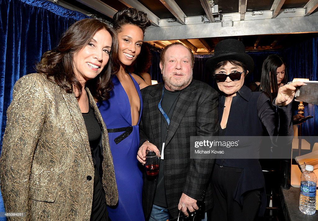 Olivia Harrison, singer Alicia Keys, Grammy Executive Producer Ken Ehrlich and Yoko Ono attend the 56th GRAMMY Awards at Staples Center on January 26, 2014 in Los Angeles, California.