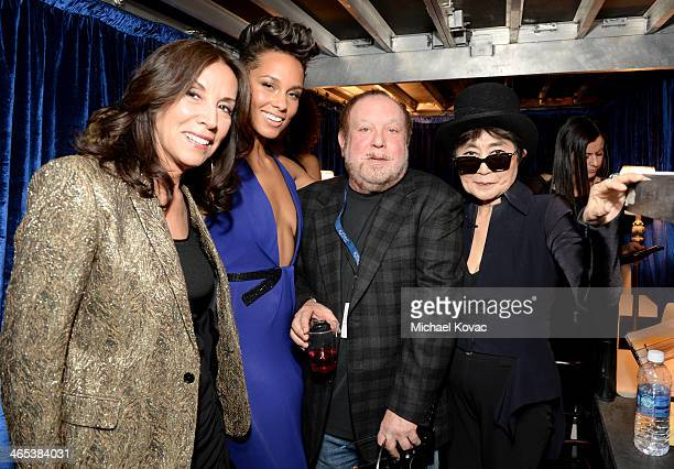Olivia Harrison singer Alicia Keys Grammy Executive Producer Ken Ehrlich and Yoko Ono attend the 56th GRAMMY Awards at Staples Center on January 26...