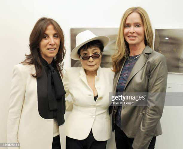 Olivia Harrison Yoko Ono and Barbara Bach attend a Council Reception launching Yoko Ono's exhibition 'To The Light' at The Serpentine Gallery on June...