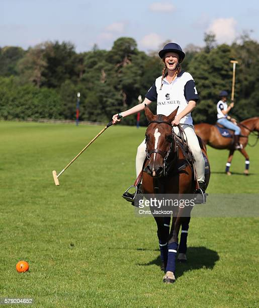 Olivia Inge learns to play polo ahead of the Royal Salute Coronation Cup at Guards Polo Club on July 23 2016 in Egham England