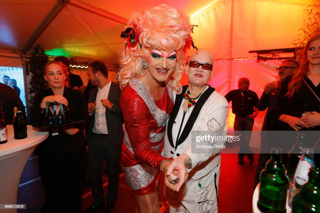 Olivia Jones and Hella von Sinnen attend the after show reception during the 21st Annual German Comedy Awards on October 24, 2017 in Cologne, Germany