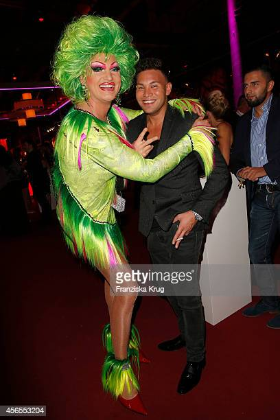 Olivia Jones and Kay One attend the Deutscher Fernsehpreis 2014 after show party on October 02 2014 in Cologne Germany