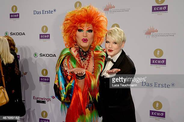 Olivia Jones and Melanie Mueller attend the Echo Award 2015 Red Carpet Arrivals on March 26 2015 in Berlin Germany