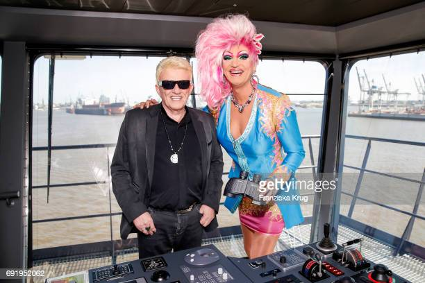 Olivia Jones and Singer Heino are seen during the naming ceremony of the cruise ship 'Mein Schiff 6' on June 1 2017 in Hamburg Germany