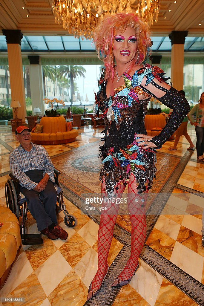 Olivia Jones arrives at the Versace hotel after spending two weeks in the Australian Outback on January 27, 2013 in Gold Coast, Australia. The German celebrities are participants in the 2013- RTL-TV-Show 'Dschungelcamp' - Ich bin ein Star - Holt mich hier raus!.