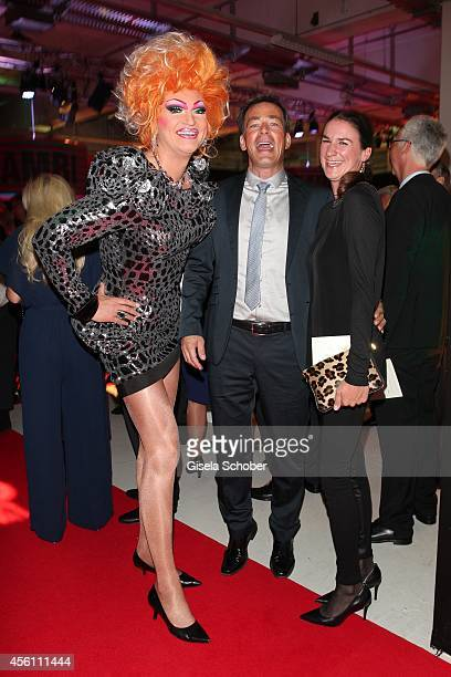 Olivia Jones Jan Sosniok and his wife Nadine Moellers arrive at Tribute To Bambi 2014 at Station on September 25 2014 in Berlin Germany