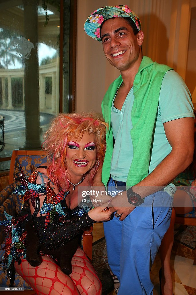 Olivia Jones poses with Silva Gonzales after arriving at the Versace hotel after spending two weeks in the Australian Outback on January 27, 2013 in Gold Coast, Australia. The German celebrities are participants in the 2013- RTL-TV-Show 'Dschungelcamp' - Ich bin ein Star - Holt mich hier raus!.