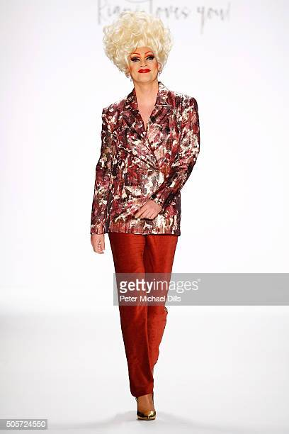 Olivia Jones walks the runway at the Riani show during the MercedesBenz Fashion Week Berlin Autumn/Winter 2016 at Brandenburg Gate on January 19 2016...