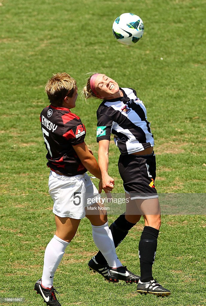 Olivia Kennedy of the Wanderers and Tiffany Boshers of the Jets contest possession during the round six W-League match between the Western Sydney Wanderers and the Newcastle Jets at Campbelltown Sports Stadium on November 25, 2012 in Sydney, Australia.