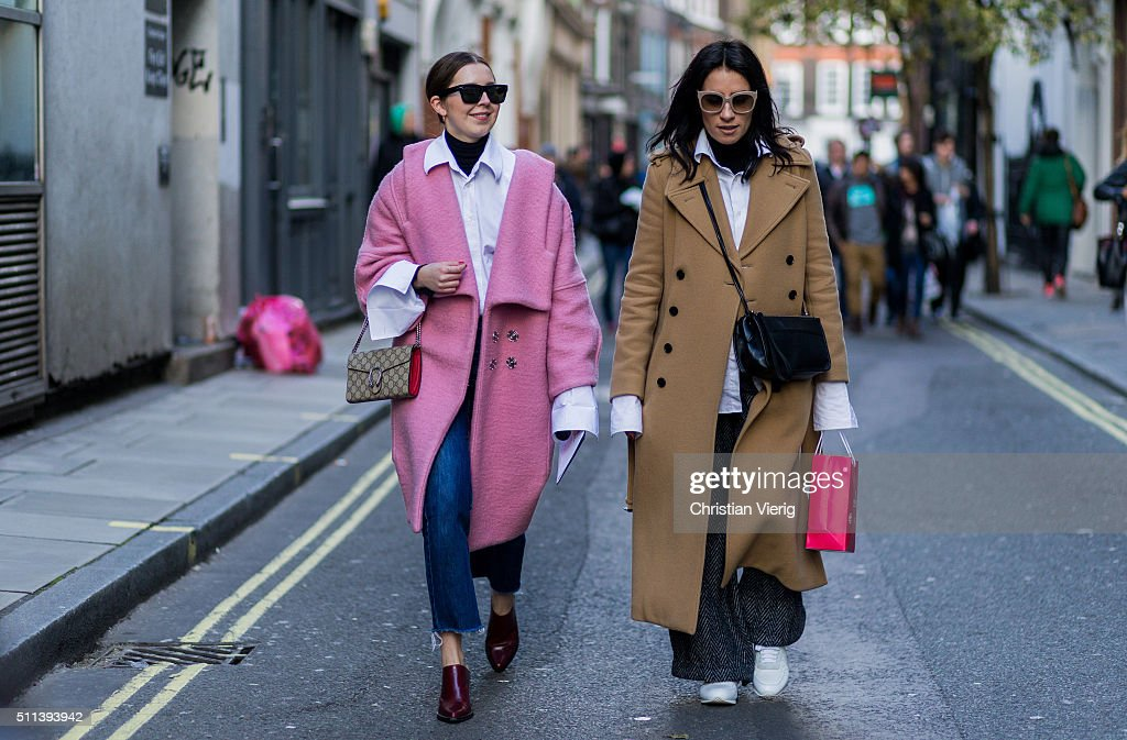 Olivia Kijo wearing a pink wool coat seen outside Eudon Choi during London Fashion Week AW16 on February 19, 2016 in London, England, United Kingdom.