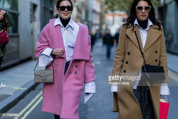Olivia Kijo wearing a pink wool coat seen outside Eudon Choi during London Fashion Week AW16 on February 19 2016 in London England United Kingdom
