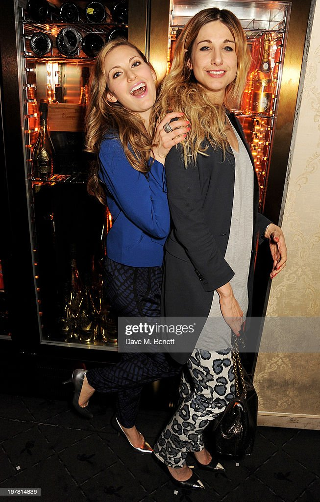 Olivia Lee (L) and Sophie Moore attend the launch of Baroque's new cabaret show at the Mayfair nightspot Baroque, at Playboy Club London on April 30, 2013 in London, England.