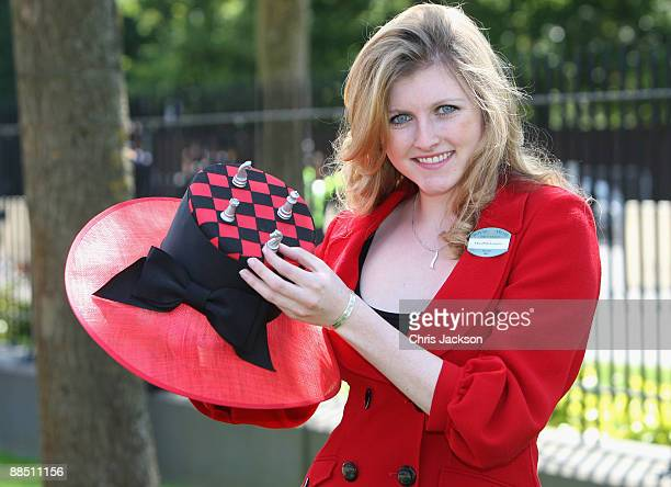 Olivia Longford poses with her decorative hat with a chess theme on the first day of Royal Ascot 2009 at Ascot Racecourse on June 16 2009 in Ascot...