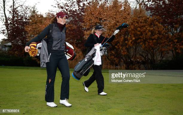 Olivia Mehaffey and Annabel Wilson walk the fairway during Curtis Cup practice at Quaker Ridge GC on November 22 2017 in Scarsdale New York