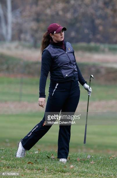 Olivia Mehaffey hits a shot during Curtis Cup practice at Quaker Ridge GC on November 22 2017 in Scarsdale New York