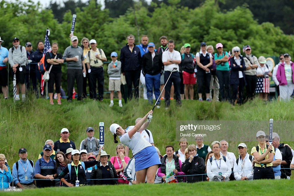 Olivia Mehaffey of Northern Ireland and the Great Britain and Ireland team plays her tee shot on the 13th hole during the morning foursomes matches...