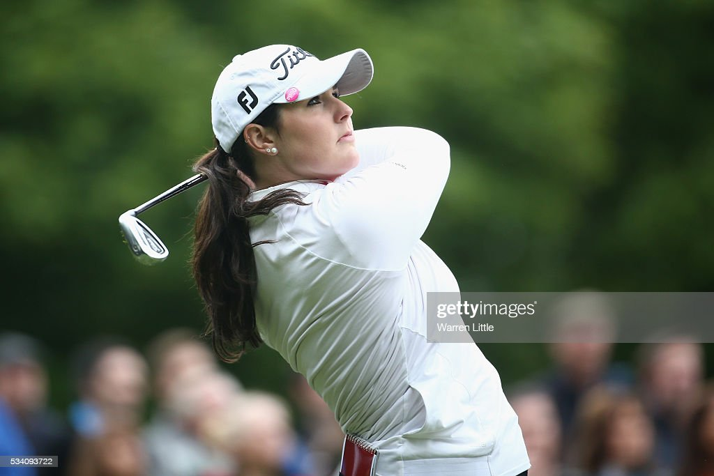 Olivia Mehaffey tees off during the Pro-Am prior to the BMW PGA Championship at Wentworth on May 25, 2016 in Virginia Water, England.