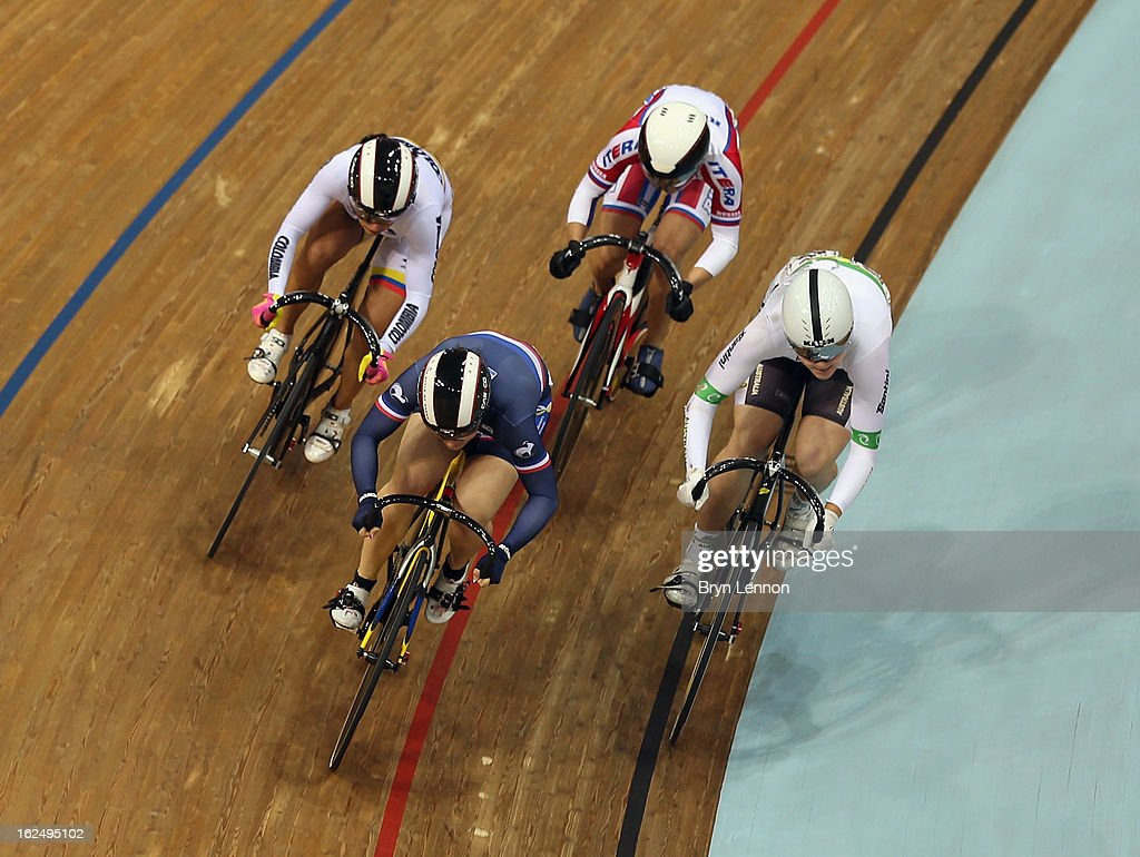Olivia Montauban of France leads into the final bend of the repechage round of the Women's Keirin during day five of the 2013 UCI Track World Championships at the Minsk Arena on February 24, 2013 in Minsk, Belarus.