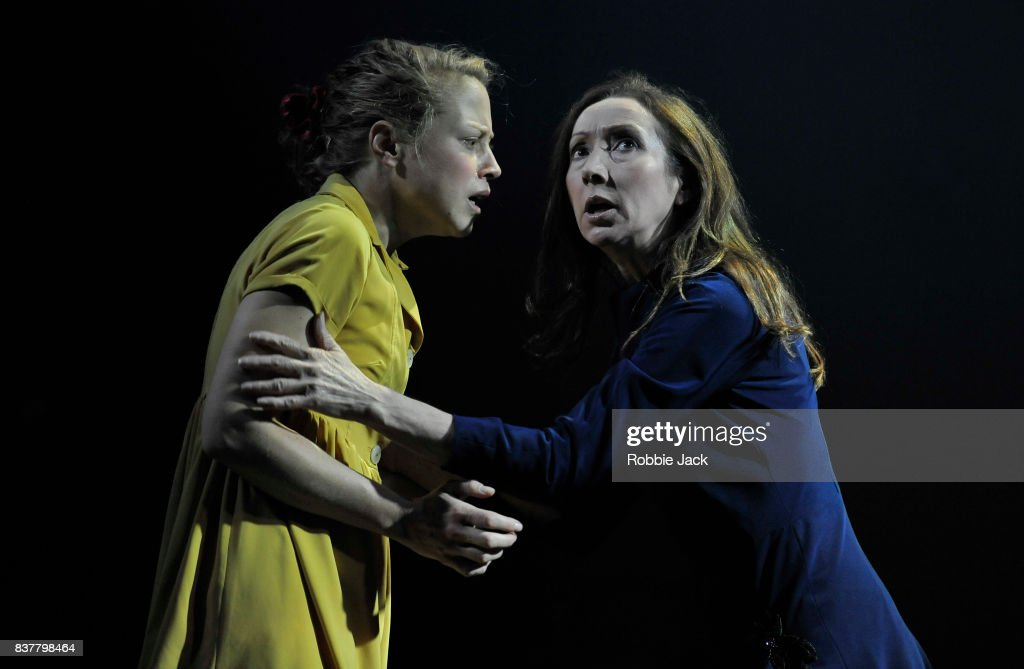 Olivia Morgan as Electra and Pauline Knowles as Clytemnestra in The Citizens Theatre production of Zinnie Harris's Oresteia:This Restless House as part of the Edinburgh International Festival at The Royal Lyceum Theatre on August 22, 2017 in Edinburgh, Scotland.